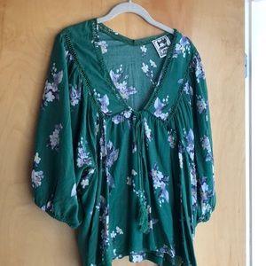 Anthropologie Jaase green floral blouse